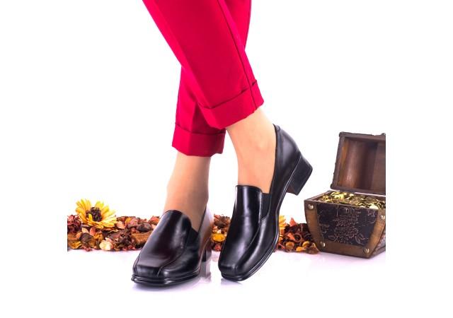 Lichidare marimea 39 - Pantofi dama casual negri din piele naturala, foarte comozi, toc 3cm  - LNA44NP