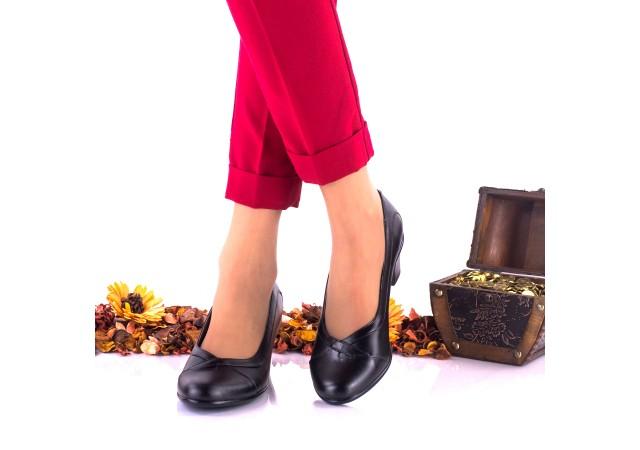 Pantofi dama casual negri din piele naturala - NA122N