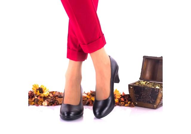 Pantofi dama casual negri din piele naturala toc 5cm -NA121