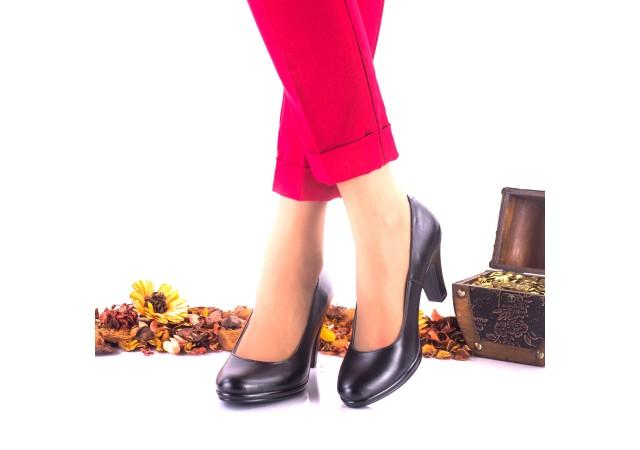 Pantofi dama din piele naturala negri toc 7cm - NA164