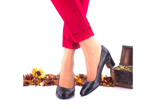 Lichidare marimea 38 - Pantofi dama din piele naturala, negri toc 6cm - LNAA3NP
