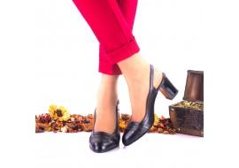 Pantofi dama din piele naturala ,negri si piele naturala lacuita toc 7cm - NAA37