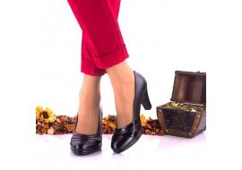 Pantofi dama negri eleganti din piele naturala, toc 7cm - NA163NPL