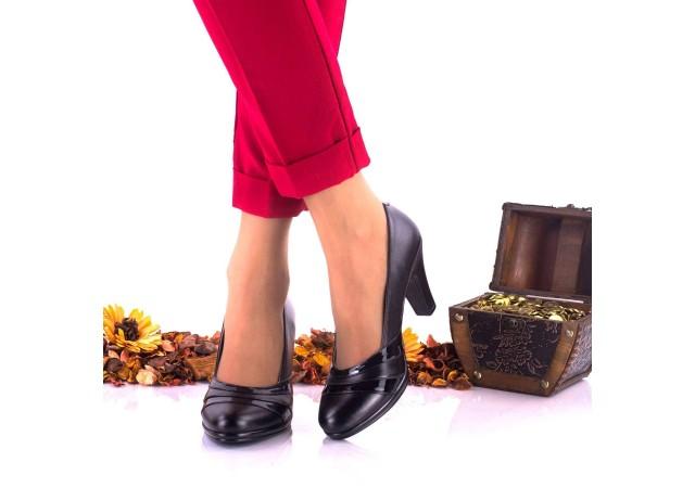 Lichidare marimea 38 - Pantofi dama negri eleganti din piele naturala, toc 7cm - LNA163NPL