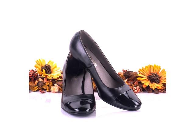 Pantofi dama eleganti din piele naturala ,negri si piele naturala lacuita toc 5cm - NAA3B