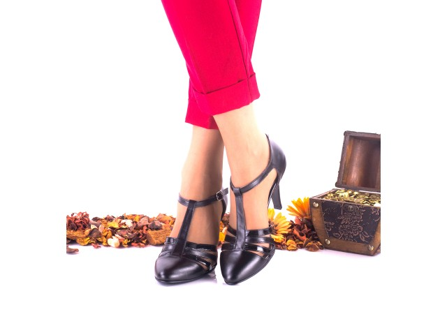 Pantofi dama eleganti din piele naturala, toc 8cm - NAA11NPL
