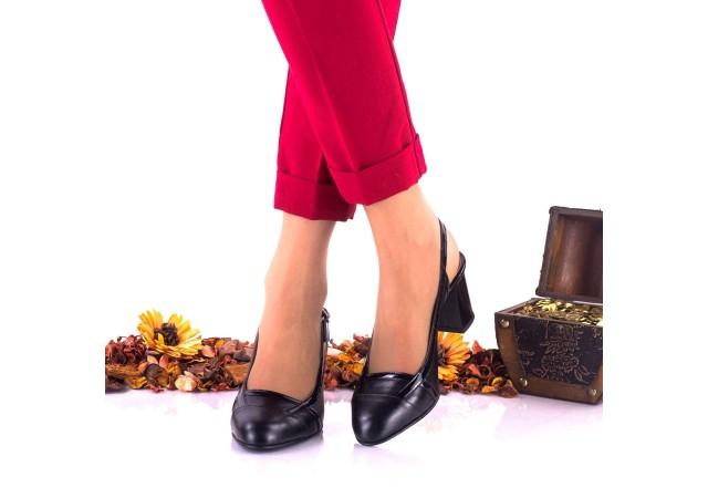 Pantofi dama eleganti din piele naturala ,negri si piele naturala lacuita toc 5cm - NAA37