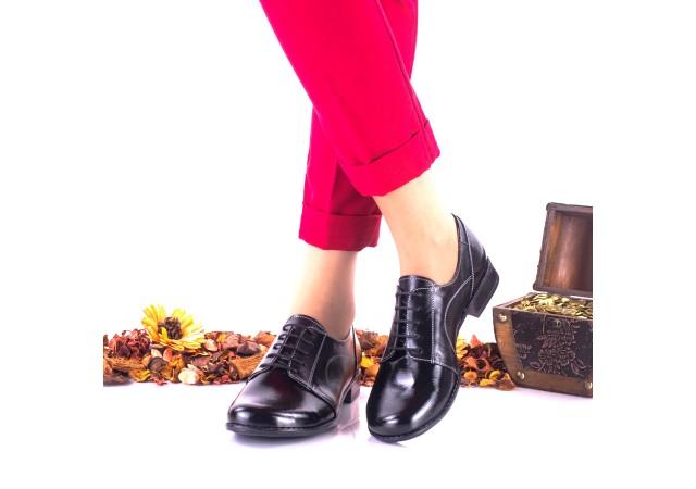 Pantofi dama casual din piele naturala ,negri si piele naturala lacuita - NA150C