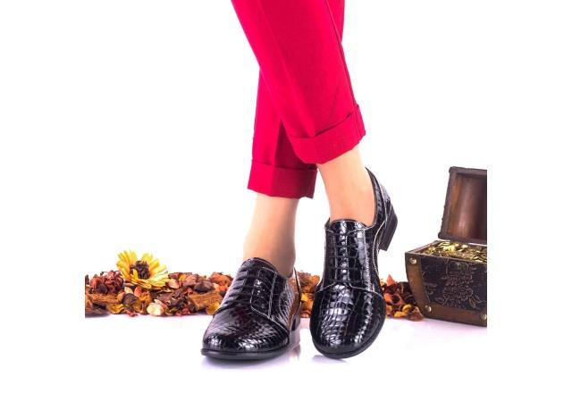 Oferta marimea 37 - Pantofi dama casual din piele naturala, negri, croco - LNA150CRN
