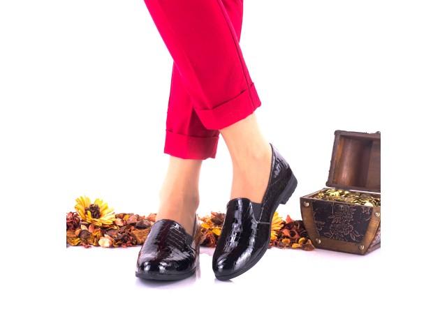 Pantofi dama casual negri, croco, din piele naturala- NA250B