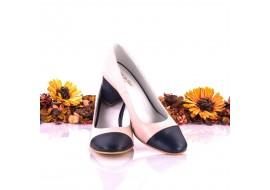 Pantofi dama eleganti din piele naturala ,nud cu bleumarin, toc de 7cm - NAA3C