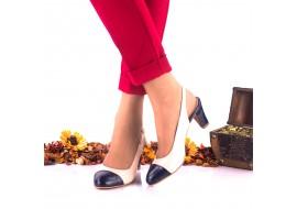 Pantofi dama eleganti din piele naturala ,nud cu bleumarin,toc 5cm - NAA20