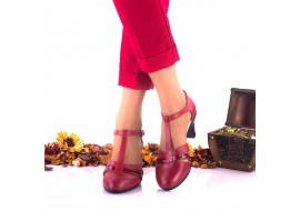 Pantofi dama din piele naturala negri si piele naturala lacuita toc 7cm - NA173B