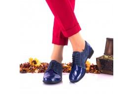 Oferta marimea 39 - Pantofi dama, din piele intoarsa, indigo , si piele lacuita - LNA150E