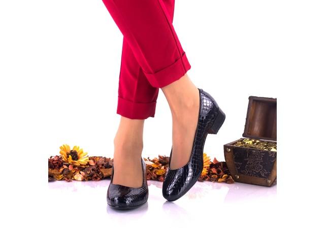 Pantofi dama casual din piele naturala, bleumarin indigo, croco - NA234CRI