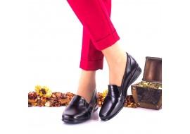 Oferta numarul 40 Pantofi dama negri, casual din piele naturala cu talpa ortopedica LNA42