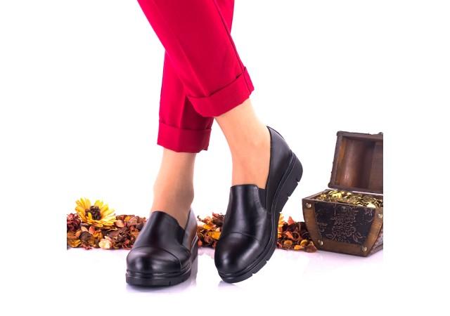 Pantofi dama negri, casual din piele naturala NA270
