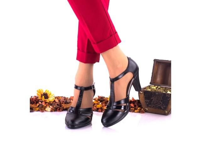 Oferta marimea 36 -  Pantofi dama, eleganti,din piele naturala negri, toc 7cm - LNA173NPL