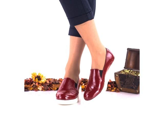 Pantofi dama rosii, casual din piele naturala lacuita - NA270C