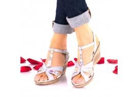 Lichidare marimea 37 - Sandale dama gri cu model din piele naturala - LNA119COLORGRI