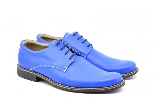 Pantofi albastri barbati casual - eleganti din piele naturala Cod: P80ALBASTRU