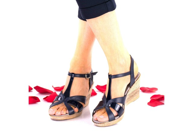 Sandale dama bleumarin din piele naturala si piele naturala lacuita - NA119B