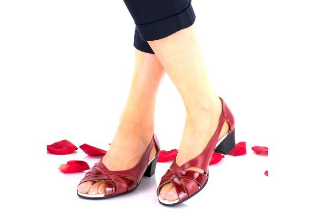 Sandale casual din piele naturala toc 3 cm - NA227RPL