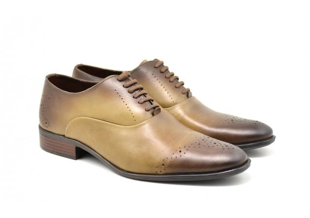Oferta marimea 41, 44 Pantofi barbati eleganti din piele naturala maro deschis - 245MD