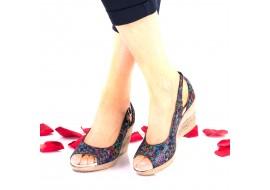 Oferta marimea 37 ,  sandale dama color-vitralii din piele naturala toc 7cm - LNA117