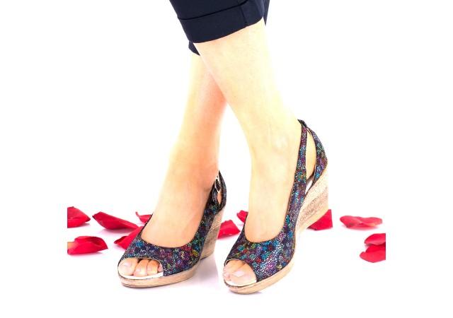 Sandale dama color-vitralii din piele naturala toc 7cm - NA117