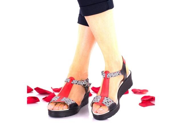 Sandale dama rosu si negru din piele naturala - NA274