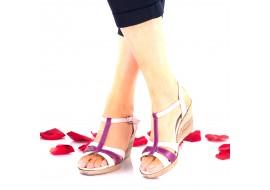 Sandale dama nud si mov din piele naturala - NA134NUDMOV