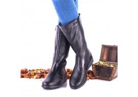 Oferta marimea 39 Cizme dama negre din piele naturala - LNA109