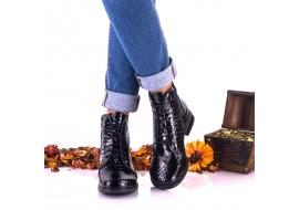 Botine dama negre, croco, din piele naturala cu siret - NA160CRN