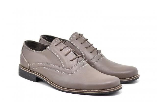 Pantofi barbati casual, eleganti din piele naturala P37GRI