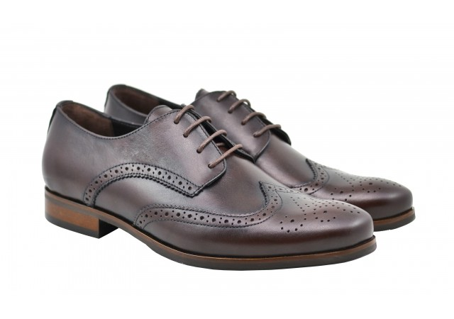 Pantofi barbati de gala, eleganti din piele naturala maro Derby 21