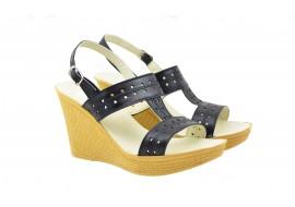 Oferta marimea 40 - Sandale dama negre  din piele naturala box, cu platforme de 7 cm  LS46NBOX