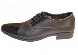 Pantofi barbati eleganti din piele naturala, cu varf lacuit  - BVS20