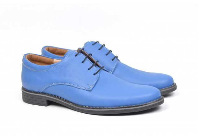 Pantofi albastri barbati casual - eleganti din piele naturala - JOHN 859AL