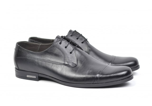 Pantofi barbati eleganti din piele naturala, AMON 21 BLACK