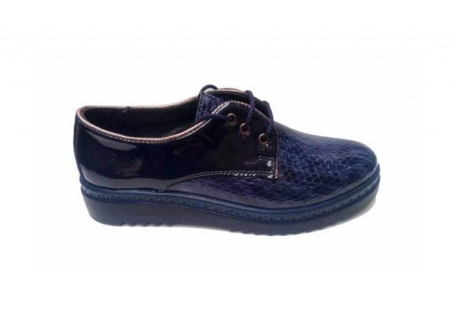 Lichidare marimea 39 Pantofi dama casual din piele naturala - CEZARA CROCO BLEUMARIN