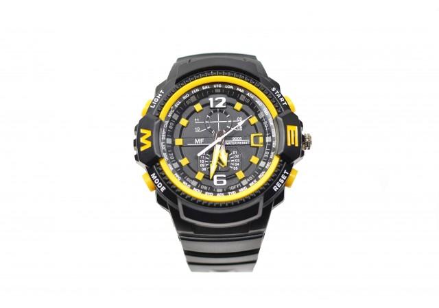 Ceas de mana barbati sport, negru cu galben si iluminare LED - MF9005Q