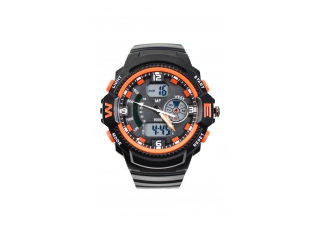 Ceas de mana barbati sport, cu sistem digital&analog, negru cu portocaliu - MF9005T