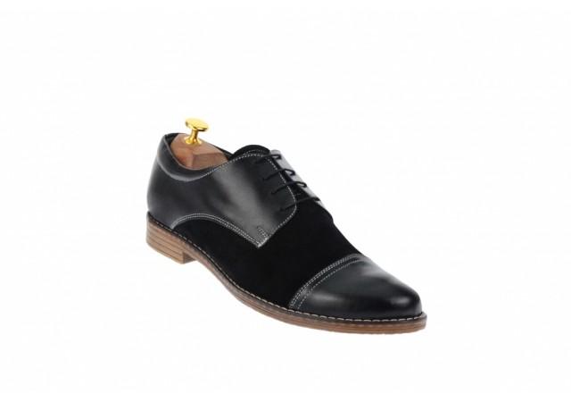 Pantofi barbati casual din piele naturala, negru 858NSN