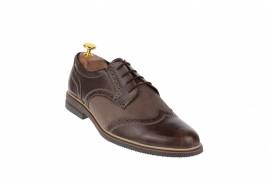 Pantofi barbati casual din piele naturala maro 411MAROBEJ
