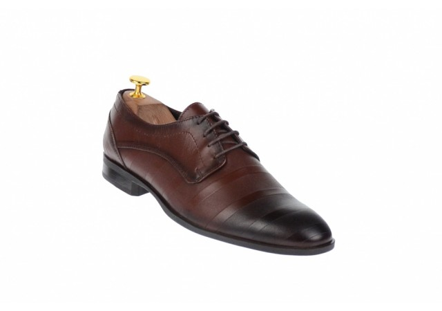 Marimea 41, Pantofi barbati eleganti din piele naturala maro - DY745M