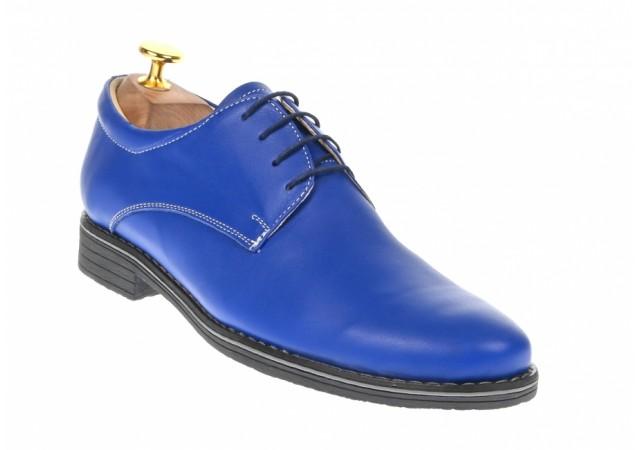 Pantofi barbati casual din piele naturala P80ALBASTRU