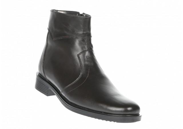 Ghete barbati negre, office, elegante din piele naturala, cu fermoar - GB99MARO