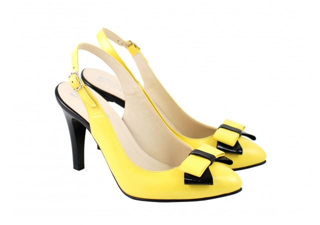 Lichidare marimea 36 Pantofi dama eleganti din piele naturala, cu fundita - L156GSLIM