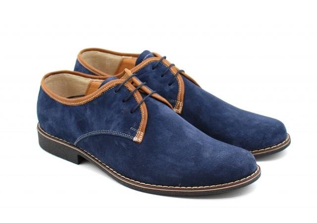 Oferta marimea 42, pantofi barbati casual, din piele naturala, culoare bleumarin LP34BLUE